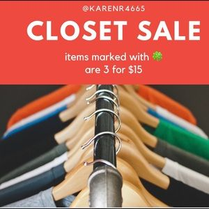 Closet Sale-Items 🍀marked w/🍀 are 3 for $15.00